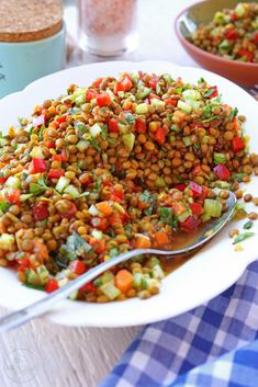 Vegetarian Recipes Lentils, Healthy Dinner Recipes, Vegetarian Salad, Summer Recipes, Salad Recipes, Diet Recipes, Clean Eating, Healthy Eating, Lentil Salad