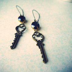 Tonight Is Forever vintage inspired key earrings by kellyssima, $20.00
