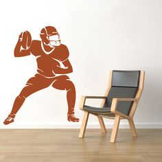 Football Player Wall Mural American Football Running Back Quarterback Superbowl Wall Removable Decal Mural Vinyl Boys Bedroom NFL, Sports Wall Decals, Vinyl Wall Decals, Custom Decals, Window Stickers, Mirror Image, Cool Walls, Embroidery Applique, Football Players, Wall Design