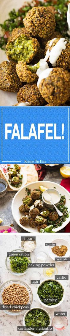 Falafel (with video recipe) are the highest and best use of chickpeas! Veggie Recipes, Indian Food Recipes, Whole Food Recipes, Vegetarian Recipes, Cooking Recipes, Healthy Recipes, Greek Recipes, Fruit Recipes, Ethnic Recipes