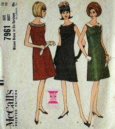 Vtg 1960s McCalls 7961 Pattern Misses Darted Party Cocktail Dress Sz 12 Bust 32 #McCalls