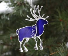 Deer decor made from cobalt blue stained glass, patinated copper wire and tin without lead. Made in glass Tiffany technique. You can choose it for Christmas Tree or like decor for you home. Best looks near the lamp or window. This fancy Rustic deers will make you smile every day! Dont