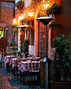 Italian Restaurant Photograph - Candlelight Dinner - Sidewalk Dining - Rome Italy Photography - Trattoria - Red Date Night Kitchen Art