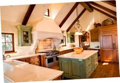 Green High End Glazed Kitchen Cabinets Cheap Glazed Kitchen Cabinets With Rustic Design