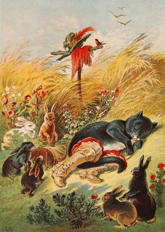 Puss in Boots.    illustration by Carl Offterdinger (1829 -1889), a German painter and illustrator.