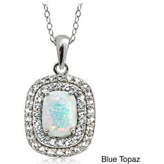Glitzy Rocks Sterling Silver Created Opal with Gemstone and Topaz Oval... ($25) ❤ liked on Polyvore