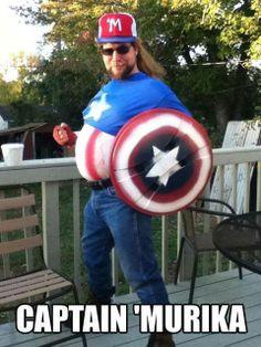 Captain Merica, 'Murica, America, Duff Man, cosplay, humor, funny, Halloween costume, redneck, outlaw country, big, large, mullet, People of WalMart, Marvel comics