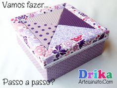 Caixa decorada com patchwork embutido - Drika Artesanato