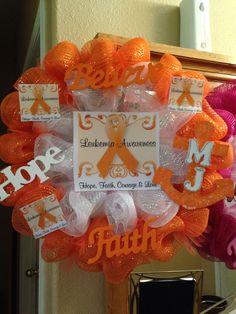 Leukemia awareness wreath Leukemia Awareness, Breast Cancer Awareness, Cancer Survivor Party, Cancer Free Party, Breast Cancer Wreath, Childhood Cancer Awareness, Crps, Awareness Ribbons, Colors