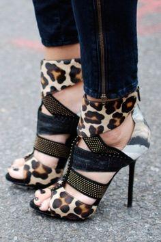 Leopard Cutout heels