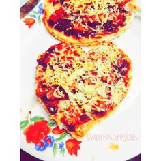 Homemade Heart-Shaped Ham and Cheese Pizza <3