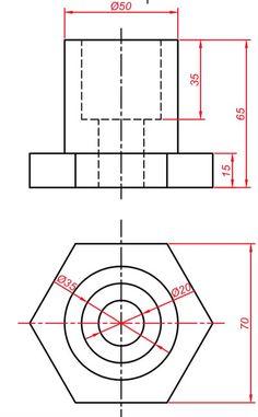 Teknik Resim Görünüş Çıkarma Örnekleri. Örnek Çizimler   Makine Eğitimi Mechanical Design, Technical Drawing, Autocad, Diagram, Drawings, Drawing Techniques, Projects, Drawing, Paintings