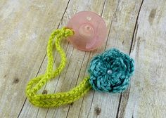 Crochet flower pacifier clip