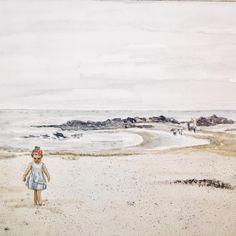 Little girl on the beach (ElinArt - september watercolors Denmark, Watercolors, Little Girls, September, Beach, Instagram, Art, Watercolor Paintings, Toddler Girls