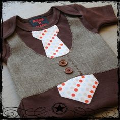 OR Do It Yourself!  0-3M -- Brown Vest -- Blue, Orange and Tan Dot Tie -- Brown Bodysuit. via Etsy.