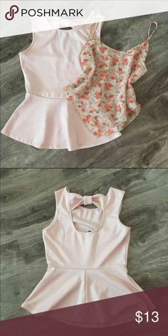 • f21 bow peplum + floral tank • FOREVER 21 SOFT PINK PEPLUM Size: Small  Condition: Worn twice, slight pilling (can be easily removed).  Description: Soft pink peplum top. Bow detailing on the back.   FLORAL CROPPED TOP (Not from f21) Size: Small Condition: Worn once, excellent condition. Like new.  Description: Floral layered cropped tank. Forever 21 Tops Blouses
