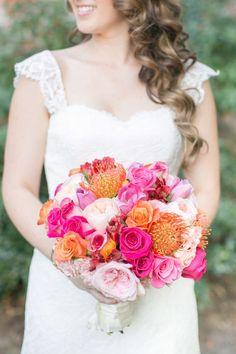 Gallery: Hot pink + orange wedding bouquet via Amalie Orrange - Deer Pearl Flowers