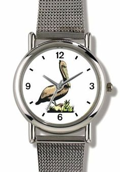 Pelican No.1 - Bird Animal - WATCHBUDDY® ELITE Chrome-Plated Metal Alloy Watch with Metal Mesh Strap-Size-Small ( Children's Size - Boy's Size & Girl's Size ) WatchBuddy. $79.95
