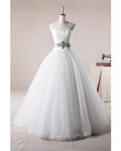 Elegant Princess Sweetheart Floor-length Organza Classic Wedding Dress with Beading | LynnBridal.com