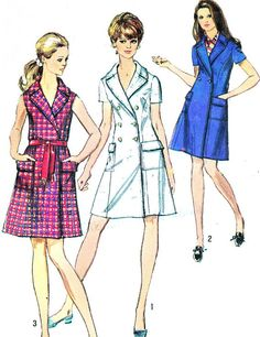 1960s Dress Pattern Simplicity 8653 1960s Mod Double Breasted Princess Seam Coatdress Womens Vintage Sewing Pattern Bust 32 1/2 Uncut