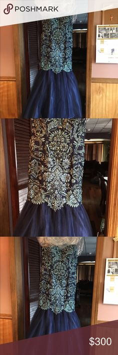 Blue mermaid dress. Never worn. Medium. Beautiful. Picture doesn't do justice Dresses Strapless