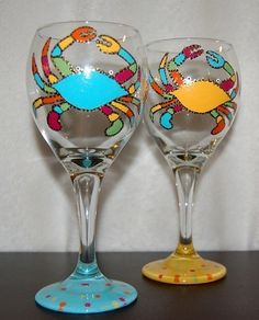 Funky Crab Wine Glasses Set Of Two by Itsacharlestonthing on Etsy, $25.00