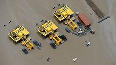 massive mining equipment underwater in Queensland