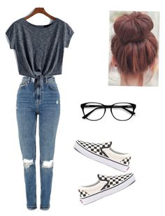 """Untitled #27"" by haileymagana on Polyvore featuring Topshop, Vans and EyeBuyDirect.com"