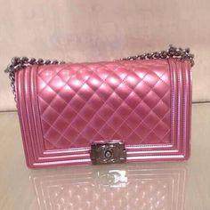 Light metallic pink Chanel boybag