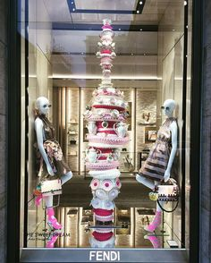 WEBSTA @ jesssschneider - I do love a good afternoon tea so of course this pretty window display by @fendi caught my eye last weekend! ☕️ #thesweetdream #afternoontea #windowdisplay