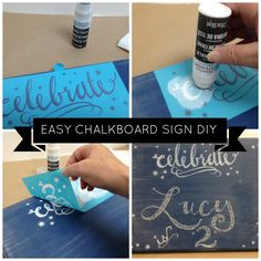 Super cute chalkboard sign with Martha Stewart Crafts Erasable Liquid Chalk - see how to make a your own chalkboard sign too - for putting game plays on the ikea black totes! Chalkboard Lettering, Chalkboard Designs, Diy Chalkboard, Chalkboard Border, Kitchen Chalkboard, Chalkboard Quotes, Diy Craft Projects, Diy Crafts To Sell, Fun Crafts