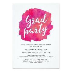 Pink Watercolor Graduation Party