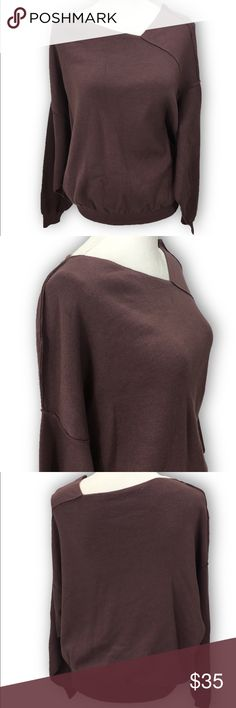 """Free People Asymmetrical Slouchy Sweater Length- 24"""" Shoulders- 22"""" Chest- 21"""" Sleeves (raglan)- 19""""  Did you know? - Slouchy oversized fit, low sleeves, asymmetrical neckline, pullover style, long sleeves, ribbed cuts and hem, raw cut seams - Pre- loved - Great used condition  - Medium weight, has stretch  - 43% nylon 32% viscose 20% polyester 4% cashmere - Hand wash cold, dry flat - Measurements taken flat Free People Sweaters V-Necks"""