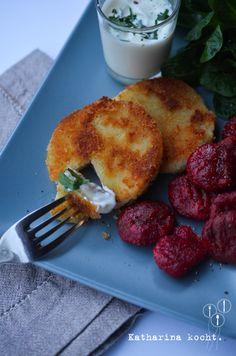 Rote-Bete-Gnocchi mit Kohlrabischnitzel