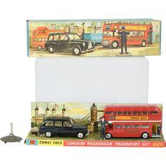 1950s Corgi Toys London Passenger Transport Toy Car Set