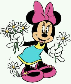 Minnie picking daisies on a beautiful summer day