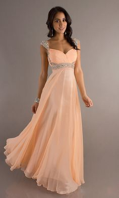 Chiffon A-line Straples Sleeveless Empire Floor-length Beading Prom Dress picture 1