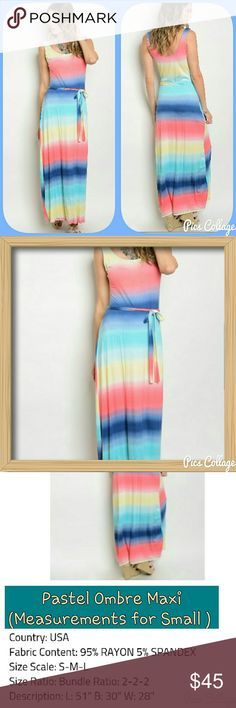 COMING SOON! Pastel Ombre Maxi Gorgeous pastel ombre/tie-dye  maxi dress with waist tie. See 3rd pic for more info. Like this listing to be notified when they arrive via price drop! :) Jewely's Justifiables  Dresses Maxi