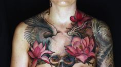another pin for Jeff Gogue simply because this chest piece is one of the most amazing tattoos I've ever seen Art Nouveau Tattoo, Tatuagem Art Nouveau, Jeff Gogue, Skull Tattoos, Love Tattoos, Beautiful Tattoos, Tattoos For Guys, Tattoo Ink, Irezumi Tattoos