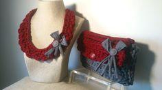 Conjunto Collar y Bolso Clutch Trapillo-Crochet de Creaciones Crochet Marisa Gerardi. https://www.facebook.com/GorrosBoinasCrochet
