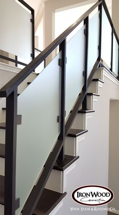 Glass and wrought iron systems are designed through our custom staircase services. This staircase is made of solid wrought iron and thick glass panels. These unique components bring a modern look and feel to any home. We offer parts, install services, and custom components throughout Texas. Click the image for more information.