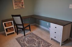 IKEA shelf and cabinet... Built into corner desk!! Awesome idea!