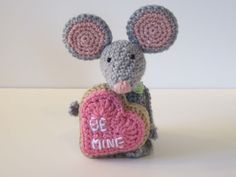 Valentine's Day Crochet Mouse.
