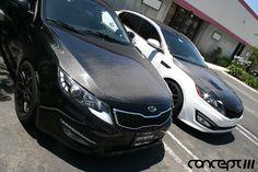 Kia Optima Seibon Carbon Fiber Hoods. TS Style vs OEM Style #2