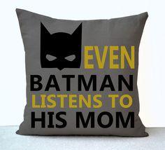 Batman Boy Room Pillow Cover Even Batman Listens To His Mom Kids Room   AmoreBeaute - Housewares on ArtFire