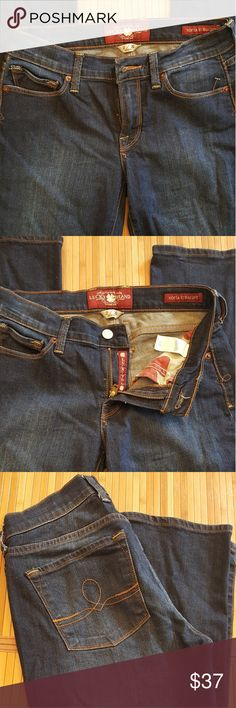 """Lucky Brand Jeans SIZE 2 /26 Sofia Straight. Dark Blue. Great condition.  Size 2 / 26 Inseam is approx. 31.5"""". Lucky Brand Jeans"""