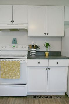 Apartment kitchen makeover using Rustoleum Cabinet Transformations Kit