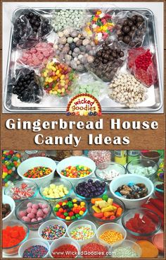 Gingerbread House Candy Ideas - - Tips, ideas and inspiration on how to add candy to gingerbread cookie houses for decoration, design and fun. Gingerbread House Candy, Gingerbread House Designs, Gingerbread Village, Gingerbread Cookies, Gingerbread House Decorating Ideas, Graham Cracker Gingerbread House, Cookie Decorating Party, Holiday Treats, Christmas Treats