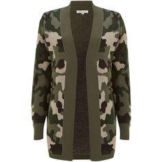 Glamorous Camo cardigan (27 AUD) ❤ liked on Polyvore featuring tops, cardigans, jackets, sweaters, shirts, khaki, sale, khaki cardigan, camouflage tops and shirts & tops