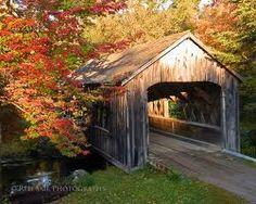 Covered bridge over Blackman Stream at Leonard's Mills in Bradley Maine.....